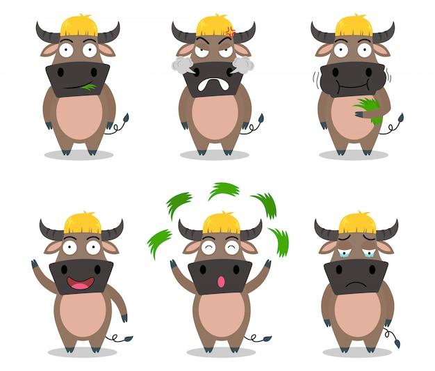 De leuke vector van het buffelsbeeldverhaal die in verschillende emotie wordt geplaatst