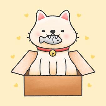 De leuke vissen van de kattenholding in een getrokken stijl van het doosbeeldverhaal hand