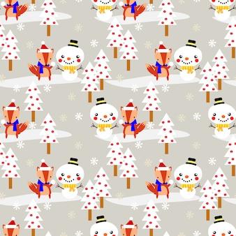 De leuke vos maakt sneeuwman in kerstmis naadloos patroon.
