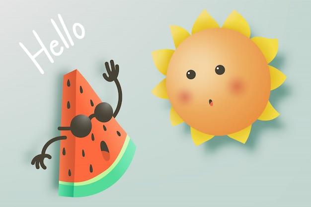 De leuke watermeloen zegt hallo met leuke zon
