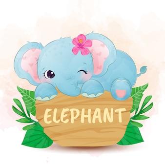 De leuke waterverf van de meisjesolifant voor kinderkamerart