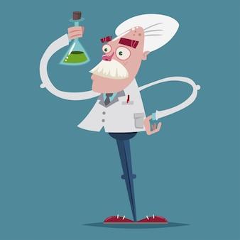 De leuke wetenschapperchemicus in een laboratoriumkostuum houdt een glazen reageerbuis in zijn hand. vector stripfiguur van een oude professor.