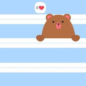 De leuke witte ijsbeer gluurt een boe-geroep en zegt i love you, de dag van de valentijnskaart