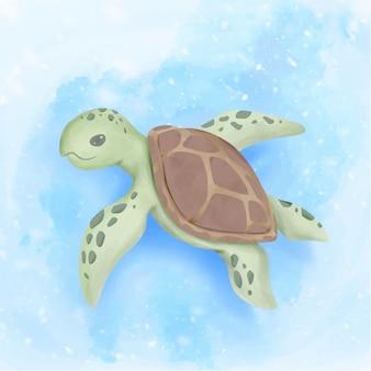 De leuke zeeschildpad zwemt onder oceaan