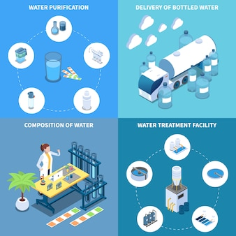 De levering van de industriële en huiswaterzuivering en samenstelling van concept van de drinkvloeistof isometrische ontwerp isoleerde vectorillustratie