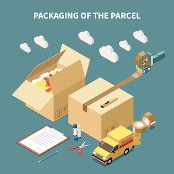 De leveringsauto en hulpmiddelen van kartondozen die voor pakket isometrische concepten 3d vectorillustratie verpakken