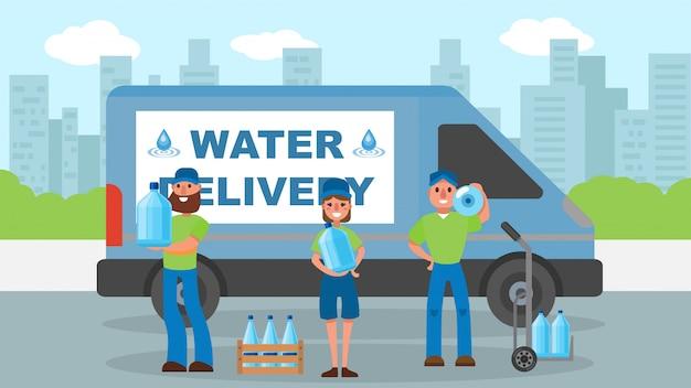 De leveringsdienst van het water, koerier dichtbij fles bij ladingillustratie. man vrouw werknemer karakter scheepvaart water voor bedrijf.