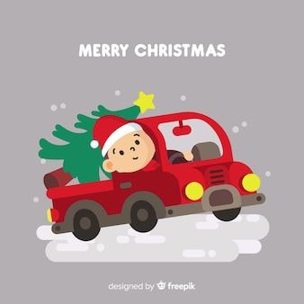 De leveringsvrachtwagen van de kerstboom met bestuurdersachtergrond