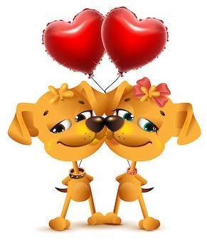 De liefde van het hondpaar en rode ballons van hartvorm