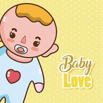 De liefdekaart van de baby met leuke cartoons