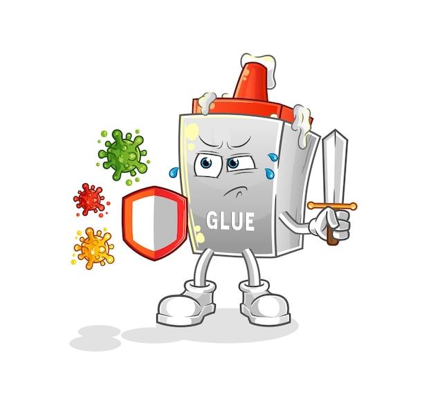 De lijm tegen virussen cartoon. cartoon mascotte