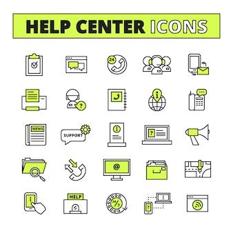 De lijnpictogrammen van het hulpcall centre met steun en informatiesymbolen worden geplaatst isoleerden vlak vectorillustratie die