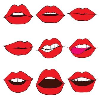 De lippen van de vrouw verstrakten de lippen van het meisje zijn bedekt met rode lippenstift