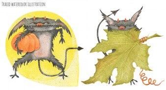 De Little Furry Devils stelen pompoenen