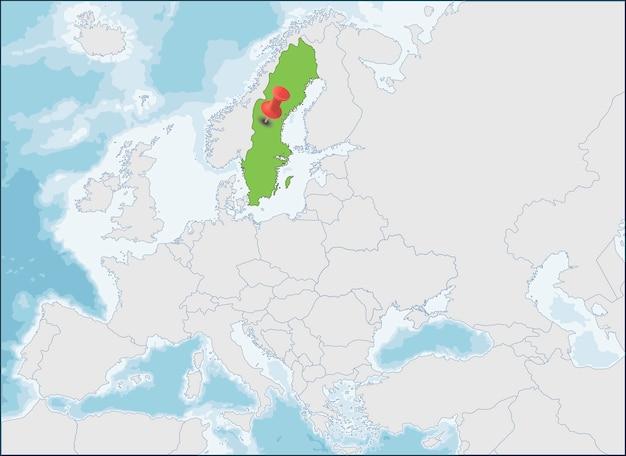 De locatie van het koninkrijk zweden op de kaart van europa