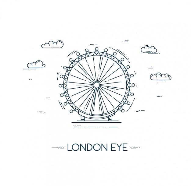 De london eye. platte lijn illustratie.