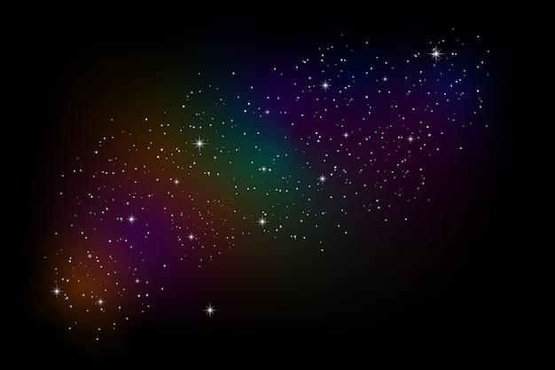 De lucht en sterrenstelsels combineren verschillende kleuren.