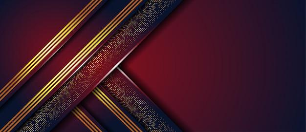 De luxe donkerrode abstracte achtergrond met gouden lijnpunt schittert achtergrond