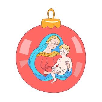 De maagd maria en het christuskind op een kerstboombal.