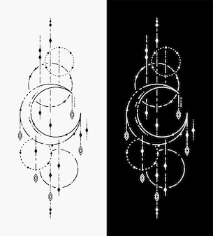 De maan geometrische tatoeages