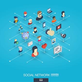 De maatschappij integreerde 3d webpictogrammen. digitaal netwerk isometrisch concept