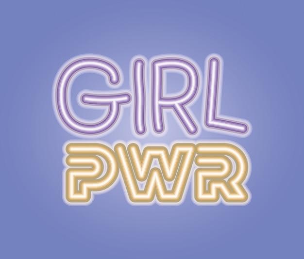 De machtsuitdrukking van het meisje met neonlicht
