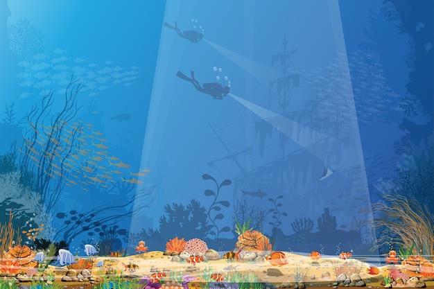 De magie van de onderwaterwereld vissen en koraalriffen