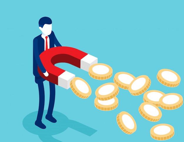 De magneten van de zakenmanholding om gouden muntstukken aan te trekken.