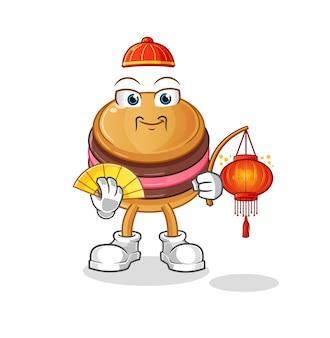De makaron chinees met lantaarns illustratie. cartoon mascotte mascotte