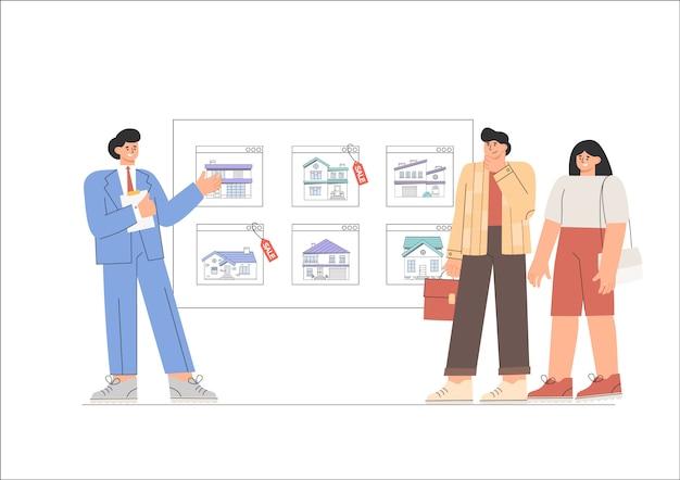 De makelaar toont de klant een vastgoedcatalogus op het scherm.