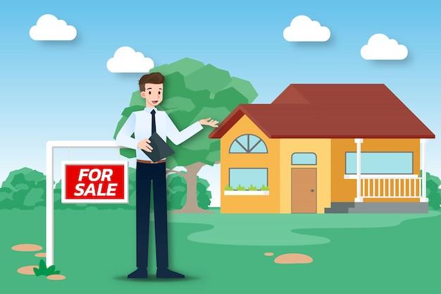 De makelaar toont een nieuw huis te koop.