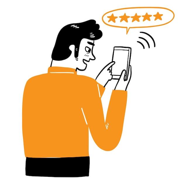 De man die de telefoon gebruikt, hand tekenen vector illustratie doodle stijl