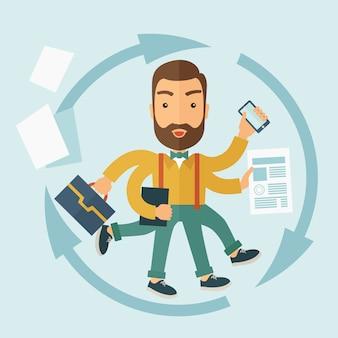 De man die in staat is tot multitasking.