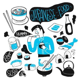 De man en het japanse eten. verzameling van hand getrokken, vectorillustratie in schets doodle stijl.