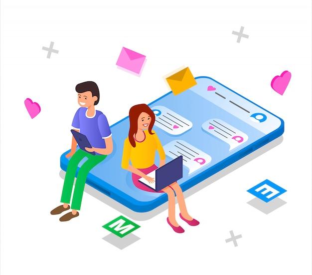 De man en het meisje communiceren via een datingsite
