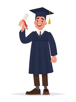 De man in de mantel studeerde af aan de universiteit.