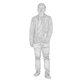 De man in het jasje loopt ergens. soorten van verschillende kanten. vectorillustratie van een zwart driehoekig raster op een witte achtergrond.