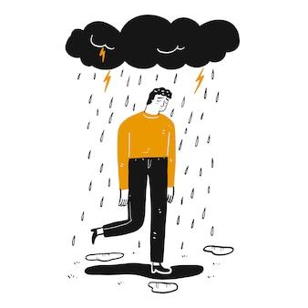 De man is verdrietig