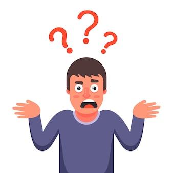 De man is verrast en weet het antwoord op de vraag niet. karakter illustratie.
