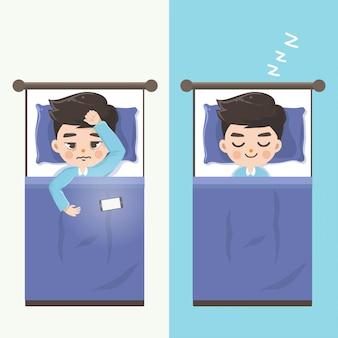De man kan niet slapen en laat hem comfortabel slapen zonder mobiele telefoons.