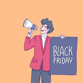 De man maakt reclame voor black friday-aanbiedingen