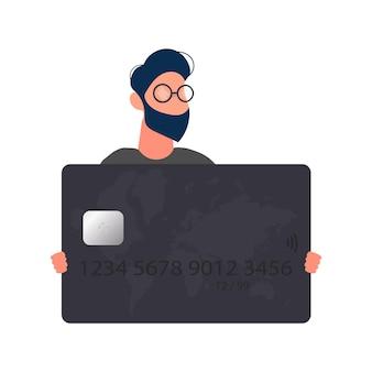 De man met bril houdt een zwarte bankkaart vast. jonge man met plastic kaart voor atm-machine geïsoleerd op een witte achtergrond. vector.