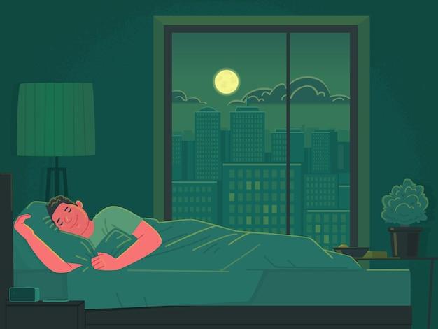 De man slaapt 's nachts in bed. gezond slapen in een grote stad. vectorillustratie in vlakke stijl