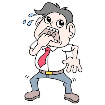 De man trilde rillend bang voor spoken, vectorillustratiekunst. doodle pictogram afbeelding kawaii.