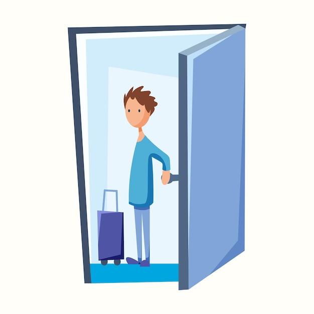 De man verlaat de deur met een koffer. de man vertrekt. vectorillustratie in vlakke stijl