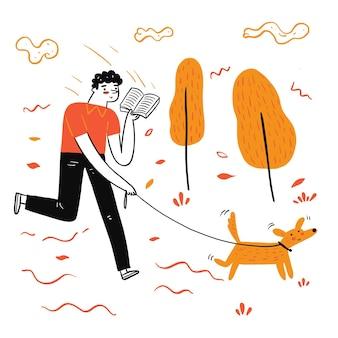 De man wandelende hond lezen van een favoriet boek, illustratie doodle stijl