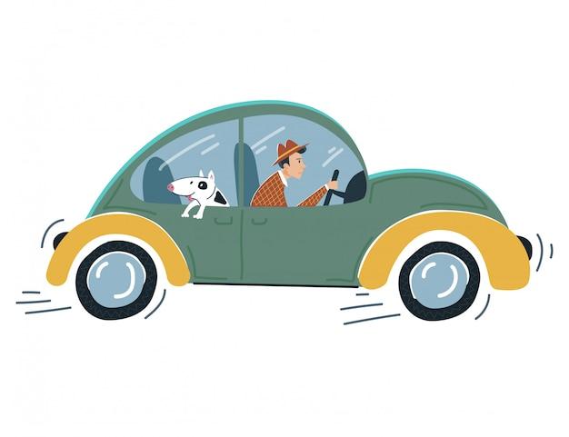 De mannelijke auto van de karaktercontrole, het sombere voertuig van de persoonlijkheidsaandrijving met grappige hond op wit, illustratie. mensenmens schiet op.