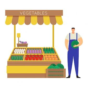De mannelijke karakterlandbouwer verkoopt zelf gekweekte groente, de markt van de conceptenstraat en box op wit, illustratie. man houdt watermeloen.