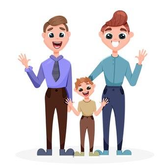 De mannen knuffelen hun zoon. concept van adoptie van kinderen door koppels van hetzelfde geslacht.