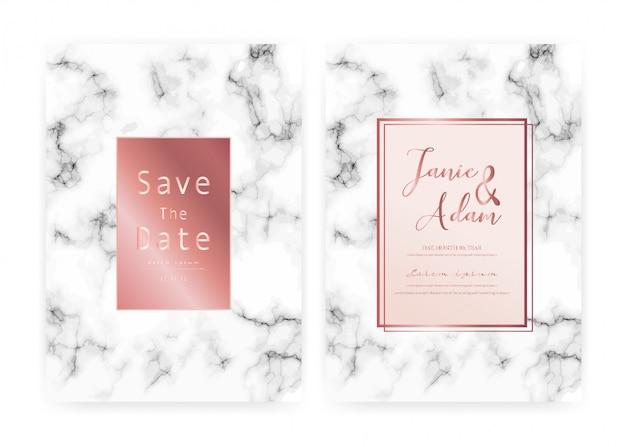 De marmeren kaart van de huwelijksuitnodiging, sparen de kaart van het datumhuwelijk, modern kaartontwerp met marmeren textuur